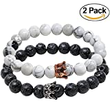 Onshine Couples Bracelets 2 Pack Lava Stone Diffuser Bracelets Stretch Beaded Bracelet Valentines Day Gift for Couples