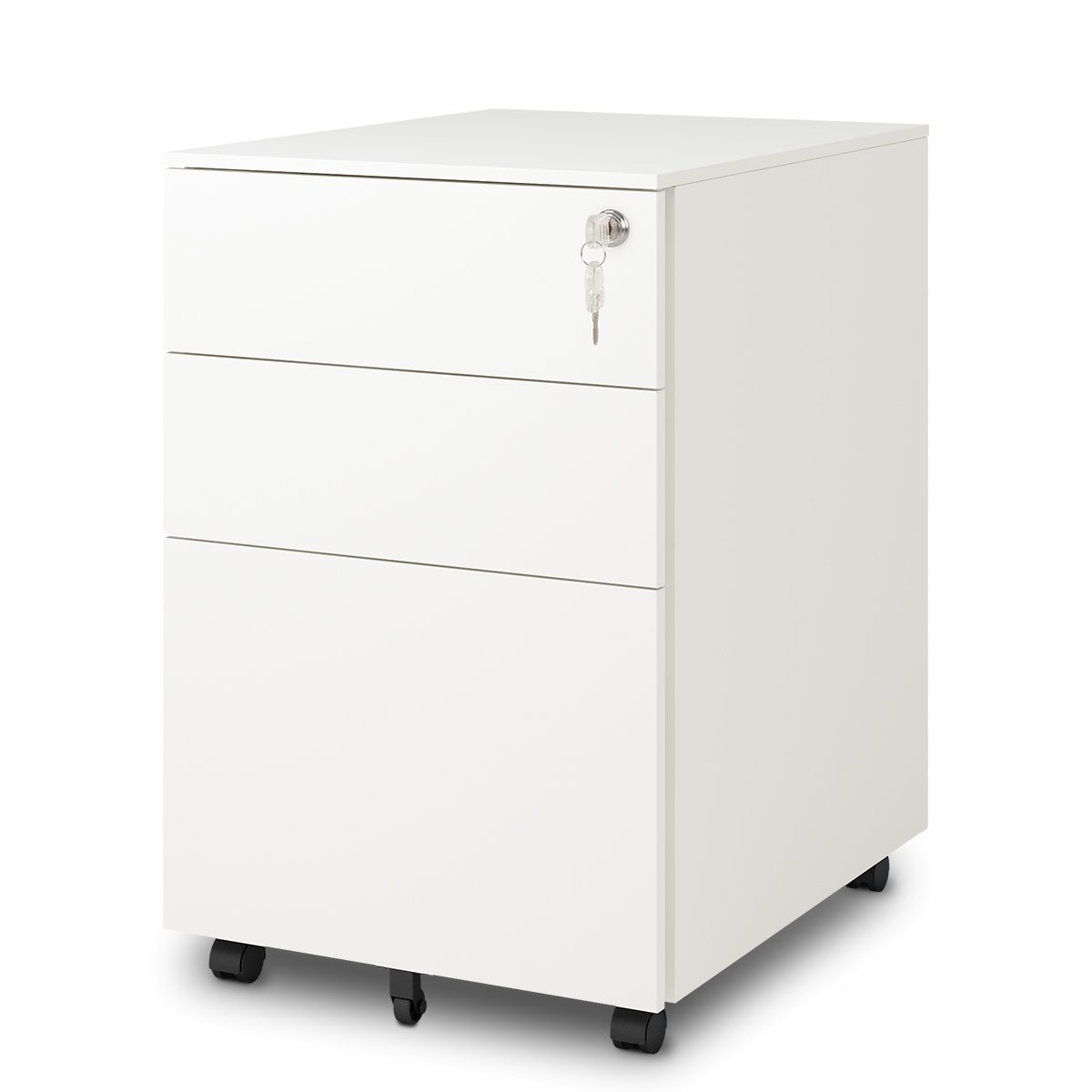 DEVAISE 3 Drawer Mobile File Cabinet with Lock, Mobile Pedestal Cabinet in White