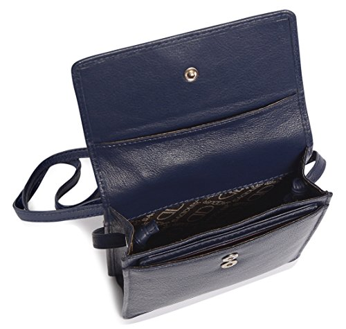 SADDLER Leather Cross Body Travel Passport Pouch - Card Holder - Peacoat Blue by Saddler (Image #3)