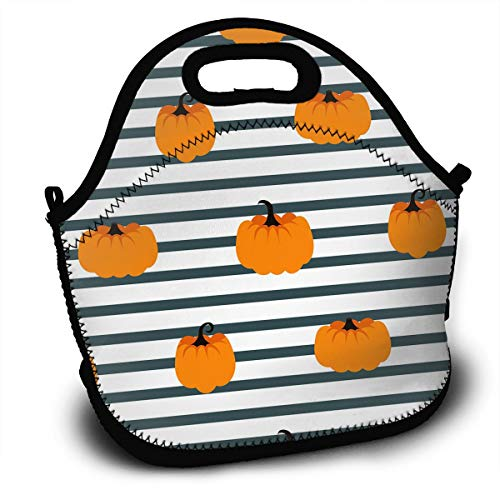 LIUYAN Custom Lunch Bags Halloween Pumpkin Striped Tote Bags for Women/Wen -