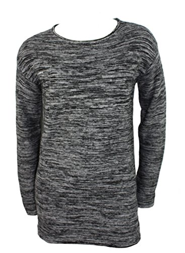 Ellen Tracy Womens Marled Knit Pullover Long Sleeved Sweater, Boat Neck (Black Ivory, Medium) (Ann Taylor Silk Sweater)