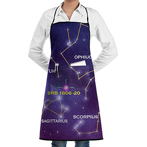 AI LEMON Purple Star Constellation Unisex Cooking Bib Apron Novelty Gift Chef Pocket Aprons BBQ Kitchen Cooking Apron 28