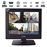 12 Inch LCD Security CCTV Monitor VGA HDMI AV BNC, 4:3 HD Display (LED Backlight) Screen with USB Drive Player for Home Surveillance Camera STB PC 800x600 Resolution Built-in Speaker Audio in/Out