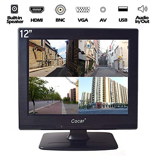 12 Inch LCD Security CCTV Monitor VGA HDMI AV BNC, 4:3 HD Display (LED Backlight) Screen with USB Drive Player for Home Surveillance Camera STB PC 800x600 Resolution Built-in Speaker Audio in/Out by Cocar (Image #7)