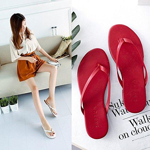 Xue Qiqi Arrastre y suelte la Palabra Chica, Desgaste de Moda Casual Plana Estudiantes Playa Antideslizante Pasador Cool Zapatillas El rojo