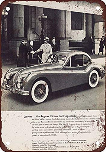 Jay Welch New Tin Sign Aluminum Retro 1956 Jaguar XK140 Hardtop Coupe Vintage Look Reproduction Pub Home Decor 8 x 12 Inch