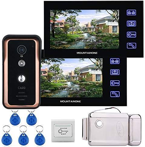 タッチキー有線7インチのビデオドア電話インターホン呼び鈴システム2モニタ1 RFID IR-CUTカメラ+ステンレス鋼の電子ドアロック