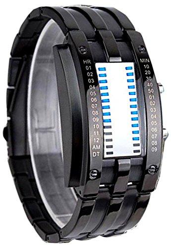 Pappi-Haunt Unique Designer Stylish Metallic Black Chain Led Bracelet Digital Watch for Boy, Men ()