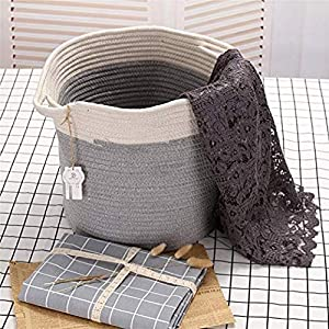 Sea Team 12.2″ H x 11.8″ D Bicolor Natural Cotton Thread Woven Rope Storage Basket Bin Hamper with Handles for Nursery Kid's Room Storage (Grey & Nature)