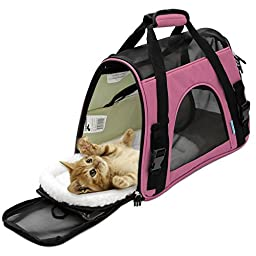 OxGord Airline Approved Pet Carriers w/ Fleece Bed For Dog & Cat - Large, Soft Sided Kennel - 2016 Newly Designed Model, Rose Wine
