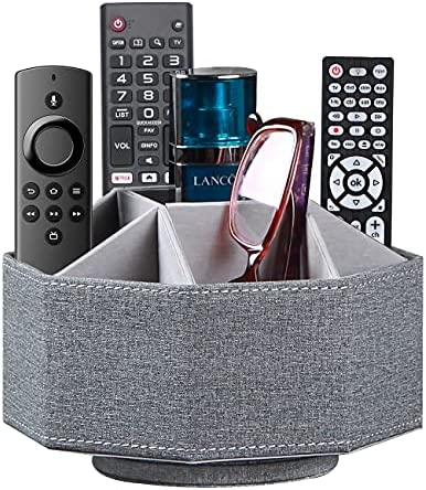 Swivel Remote Control Holder, 9 Rooms Desk Organizer and Decorations for Living Room, Leather Bedside Storage Caddy for TV Controllers/ Makeup Brush Pen/ Office Stationery/ Art Supplies/ Eyeglasses