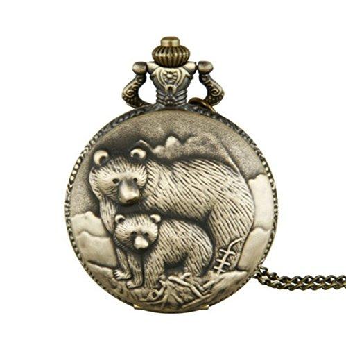 WZC Antique Bronze Two Bears quartz movement Pocket Watch for Men and Women