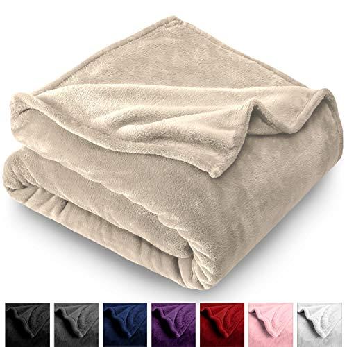 Bare Home Microplush Velvet Fleece Blanket - Full/Queen - Ultra-Soft - Luxurious Fuzzy Fleece Fur - Cozy Lightweight - Easy Care - All Season Premium Bed Blanket (Full/Queen, Oyster)