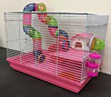 Pink 2 Floor Syrian Hamster Habitat Rodent Gerbil Mouse Mice Rats Animal Cage