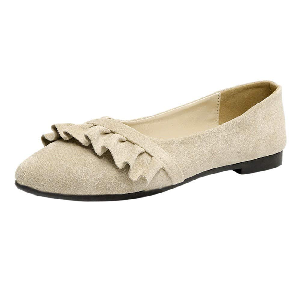 Sanyyanlsy Women Elegant Ruffled Slip On Flat Shoes Shallow Pointed Toe Square Heel Shoes for Office Lady College Style Khaki by Sanyyanlsy