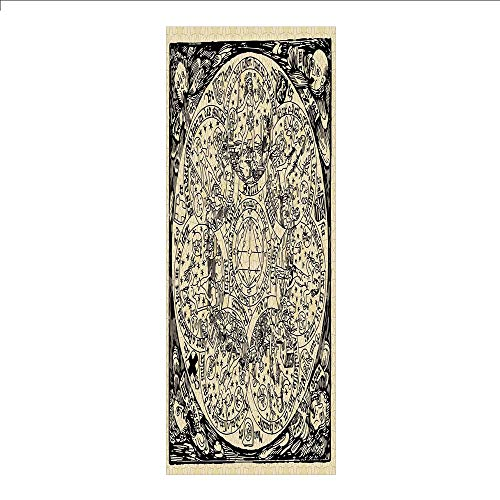 3D Decorative Film Privacy Window Film No Glue,Astrology,Series of Ancient Mystic Esoteric Old Map with Man Figures Vintage Symbols Decor,Ecru Black,for Home&Office