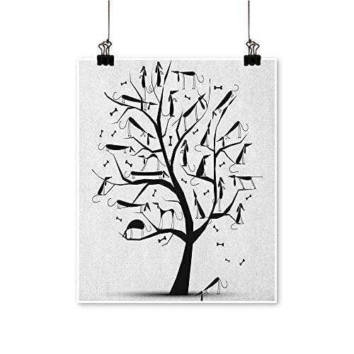 (Abstract,Kitchen Wall Decor Monochrome Autumn Season Tree with Dog Silhouettes on The Branches Dachshund W32 xL36 for Bedroom Office Homes Decorations)
