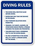 Diving Rules Sign, 24'' x 18''