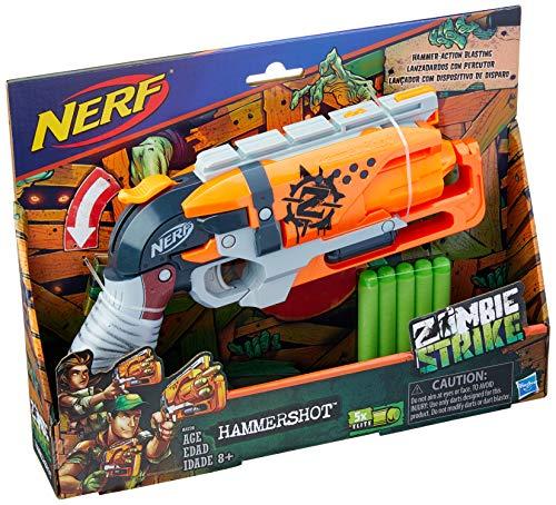 Brinquedo Lança Dardo Zombie Hammer, Nerf, A4726 - Hasbro, Azul/Cinza/Laranja