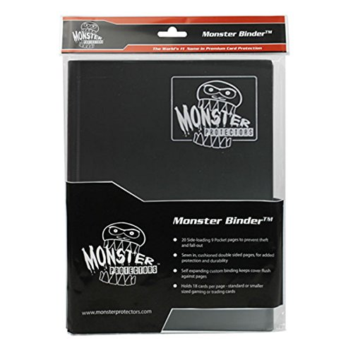 Monster Binder - 9 Pocket Trading Card Album - Matte Black (Anti-theft Pockets Hold 360+ Yugioh, Pokemon, Magic the Gathering Cards)