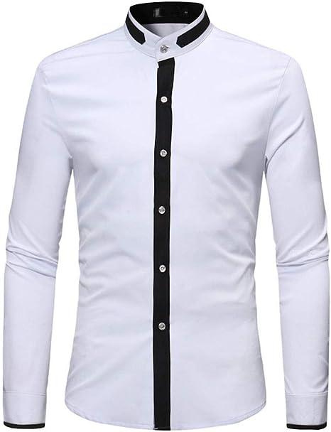 NDY Camisa de los Hombres de la Solapa cómodas Tops con Cuello en V Diseño Entallada
