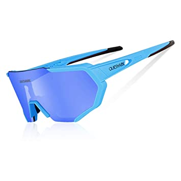 b17b8127be Queshark Gafas De Sol Polarizadas para Ciclismo con 3 Lentes  Intercambiables UV400 MTB Bicicleta Montaña (BLU): Amazon.es: Deportes y  aire libre