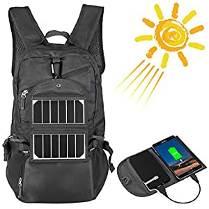 Solar Panel Backpack with 2000mAh USB Charger Power Pack Adapter, LC-dolida Waterproof Collapsible Hiking Daypacks Bag for iPhone, iPad, iPod, Samsung Smartphones and Tablets, Grey