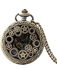 Exquisite Creative Gear Carved Vintage Hollow Quartz Pocket Watch with Chain for Boys and Girls Metals Suitable for Mens Pocket Watch Gift
