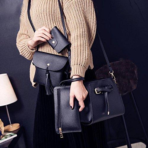 Rakkiss Women Four Set Handbag Shoulder Bag Fashion Tote Bag Crossbody Wallet Leather Satchel Backpack(Four Pieces) (One_Size, Black) by Rakkiss_Clearance Bag (Image #5)