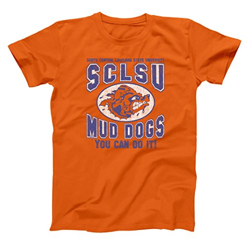 Mud Dogs You Can Do It Funny Classic Football Waterboy Old School Sports SCLSU Muddogs Movie Comedy Humor Mens Shirt Large Orange ()