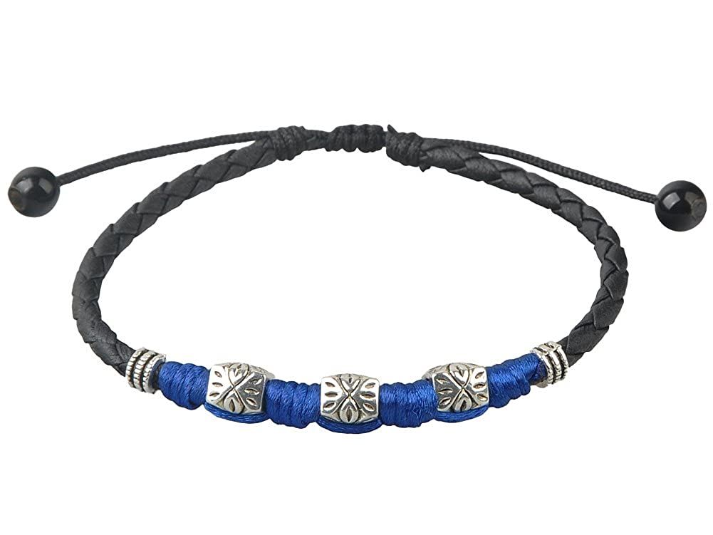 Ancient Tribe Handmade Adjustable Black Leather Anklet,Womens