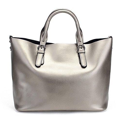 Vintage Casual à Capacité à Sac Bag Bandoulière Mode Silver Lady Grande Main Sac Messenger 1azwgaYq