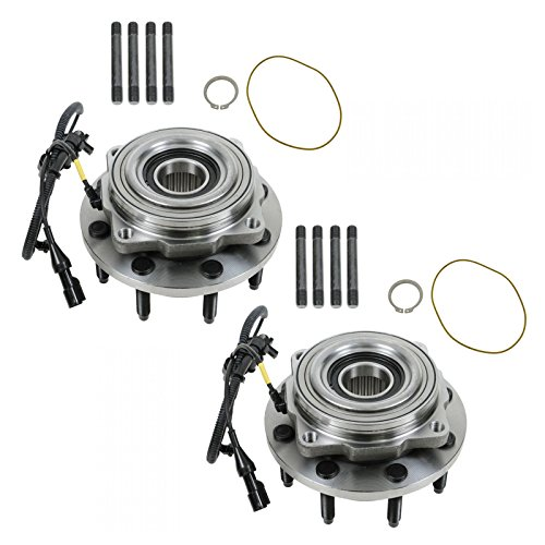 Front Wheel Hub & Bearing Pair w/ABS 4WD 4x4 SRW for F250 F350 F450 ()