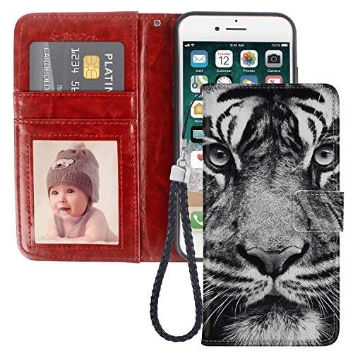 (iPhone 7/8 Plus White Tiger Face Design Wallet Case, Pocket Phone Case, Leather Cover, Shockproof, Multi-Slots Flip Card Holder for iPhone 7/8 Plus LingHan)