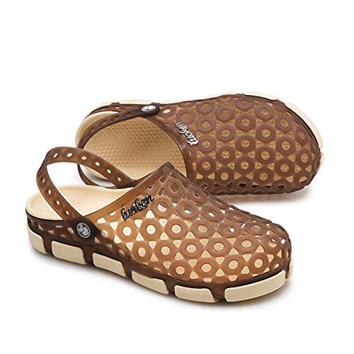 Brun Chaussures Trou Bluelover Mode Mâle Sandales Casual 9 d'eau Respirante Noir Semi Pantoufles Plage Taille Us Luoken Été UqUT78