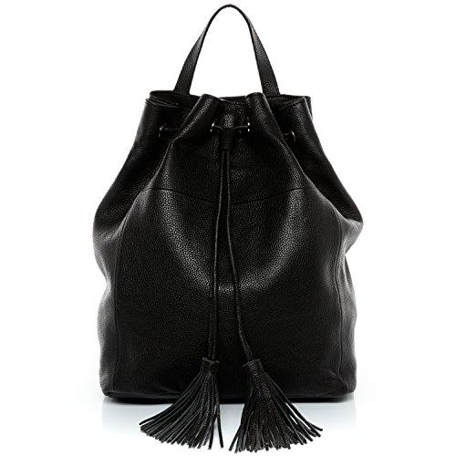 BACCINI mochila de piel NAPOLI Cuero - bolso para hombro negro