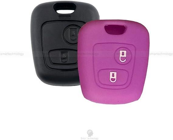 Coque color/é en silicone souple pour cl/é /à 2/boutons pour voiture Toyota Aygo en 10/couleurs arancio