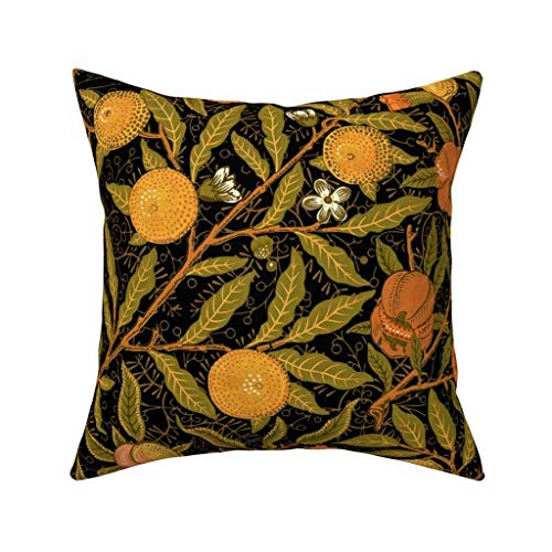 Decorative Pillow Covers Fruit ~ William Morris ~ Citrus on Black Square Cushion Cover Cotton Throw Pillow Covers Home…
