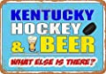 Eeypy 8 x 12 Metal Sign - Kentucky Hockey and Beer - Vintage Look