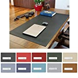 ZSZBACE Leather Desk Mat- Extended Large Gaming Mouse Pad 27'' 17''- Office Desk Supplies- Waterproof Desk Pad (Black)