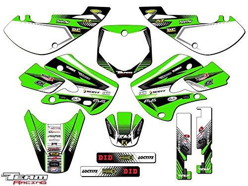 (Team Racing Graphics kit compatible with Kawasaki 2002-2009 KLX 110, ANALOG Complete Kit)