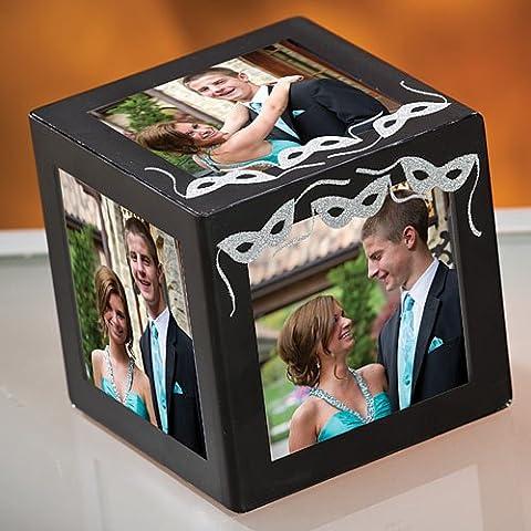 Silver Unimprinted Midnight Masquerade Cube - Plastic Photo Cube