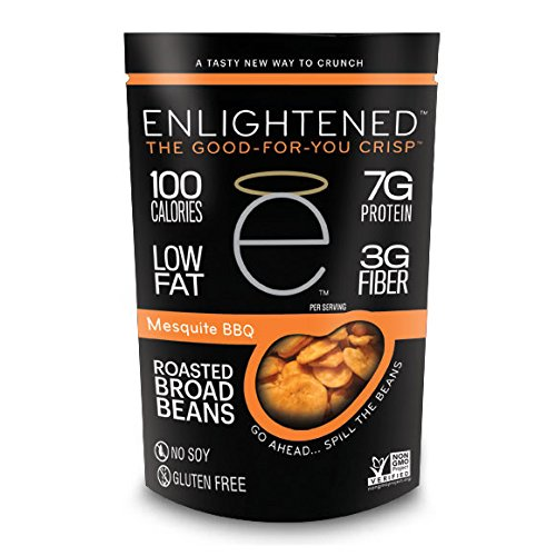 Enlightened Plant Protein Gluten Free Roasted Broad (Fava) Bean Snacks, Mesquite BBQ, 3.5 Ounce ()
