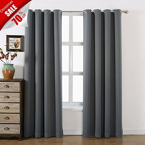 Review AMAZLINEN 52×84-Inch Grommet Top Blackout Curtains with Tie Back, Charcoal Grey (Set of 2)
