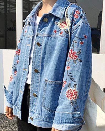 Bolsillos Bordado Fashion Vintage Jeans Jacket Primavera Larga Outerwear Hipster Abrigos De Mujer Chaquetas Elegante Adelina Múltiples Blau Denim Otoño Abrigo Ropa Botonadura Manga Con Vaqueras q7PRnIwv8