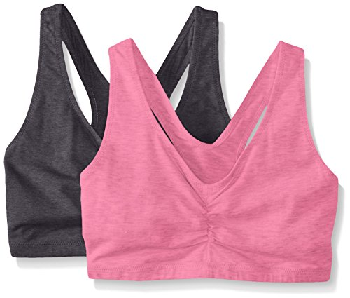 Hanes Women's Comfort-Blend Flex Fit Pullover Bra (Pack of 2),Grey/Pink,XX-Large