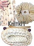DIY Knit Kit Super Chunky Knit Blanket, Giant Knitting, Giant Needles