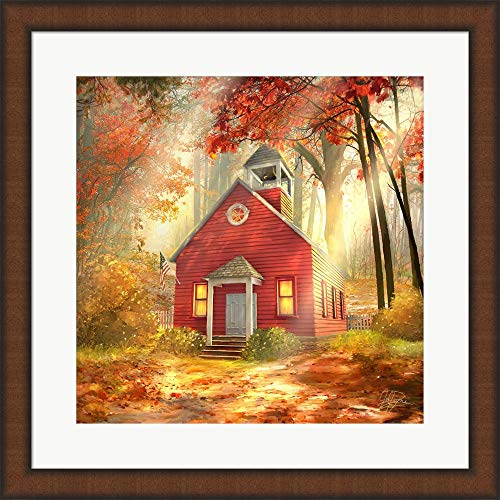 Little Red Schoolhouse by Joel Christopher Payne Framed Art Print Wall Picture, Brown Teak Frame, 20 x 20 inches ()
