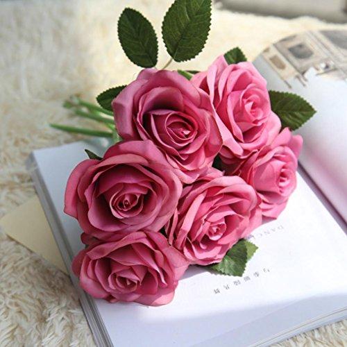 Bouquet Hot Pink Rose (Inverlee 5Pcs Artificial Flowers Rose Floral Fake Flowers Wedding Bridal Bouquet DIY Home Garden Decor (Hot Pink))