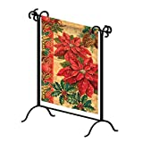 "Evergreen Flag Black Iron Patio Swirl Garden Flag Stand - 18""W x 27""H"